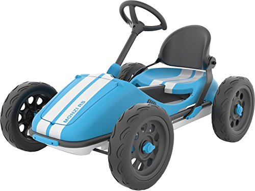 Chillafish Monzi RS: Pedal Go-Kart for Kids 3-7 Years, Folds Down for Easy Storage and Adjustable Seat Without Tools, Airless no-Puncture RubberSkin Tires, and Wall Mount for Easy Storage, Blue