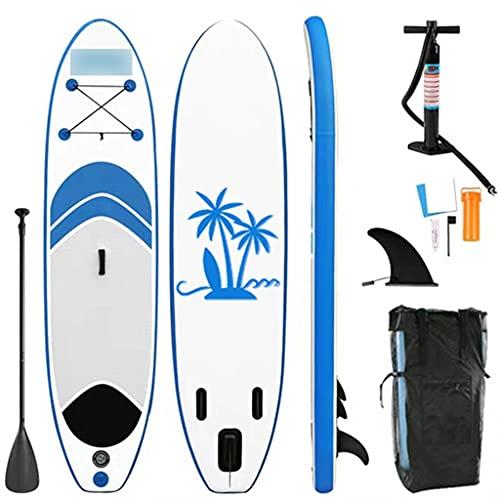Tabla de Paddle Surf Inflable para Adultos,Tablas de Remo de 320 * 76 * 15 cm con Paleta Ajustable, Mochila, Bomba de una Mano, Correa de Seguridad para el Tobillo, Kit de reparación