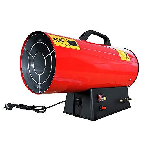 Froadp 30kW Gasheizgebläse aus Edelstahl mit 1500mbar Druckminderventil und 150cm Gasschlauch für Baustellen Belüfteten Lagerräumen Garagen(Rot)