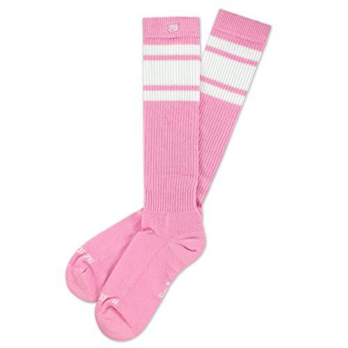 Spirit of 76 Herren & Damen Sport Retro Skater Socken Hoch Baumwolle Tubesocks Lang 35 36 37 38 Pink - Weiß Hi (S)
