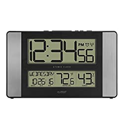 La Crosse Technology 513-1417H-AL-INT Atomic Clock with Temperature & Humidity, Grey/Black