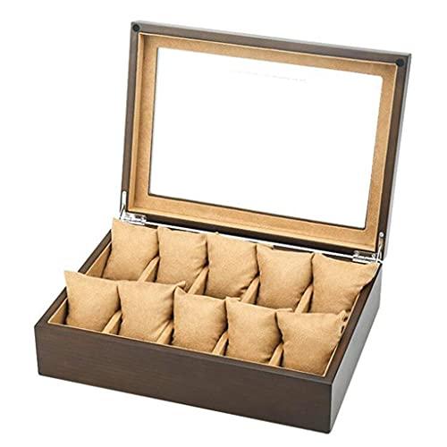 LJW WATCK Organizer Wood Wood Watch Box Organizador con Pantalla de Vidrio Top 10 Ranuras con Toque Suave Exterior/Interior Gran opción de Regalo   Código de Productos: LJW-241
