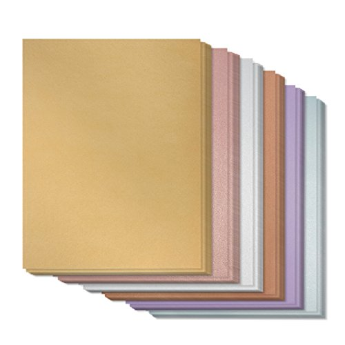 Assorted Metallic Paper - 96-Pack Shimmer Papers, Double Sided, Laser Printer Compatible, Perfect for Weddings, Craft Use, Includes Gold, Silver, Rose, Copper, Amethyst, Aquamarine, 8.5 x 11 Inches