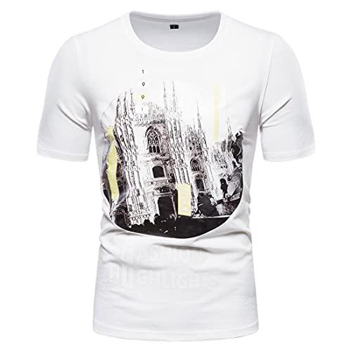 Tshirt Hombre con Estampado Urbano Casual Cuello Redondo De Manga Corta Hombre Verano Moderno Viaje Al Aire Libre Camiseta para Hombre Deportes Correr Camiseta Deportiva Hombre A-White XL