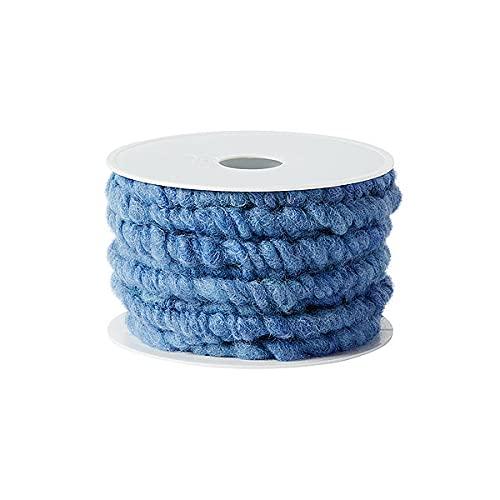 KragoART: Wollkordel, Wollschnur 20 mm breit - 5 Meter auf Plastikrolle, Bastelwolle zum Dekorieren von Gefäßen & Gestecken, Floristik (enzianblau)