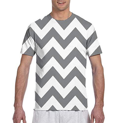Men tee Shirts Grey and White Chevron Zigzag Zig Zag Short Sleeve T-Shirts Crew Neck T Shirt