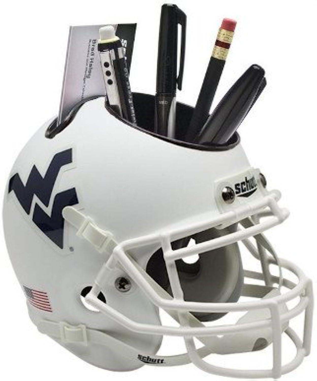 West Virginia Mountaineers (White Matte) NCAA Football Schutt Mini Helmet Desk Caddy