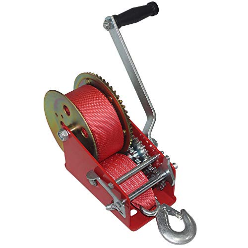 OPENROAD 3200lbs Hand Winch,Heavy Duty Boat Trailer Winch with Hook,10M Strap with Crank Handle 2 Gear Winch,Pulling Winch for ATV/UTV