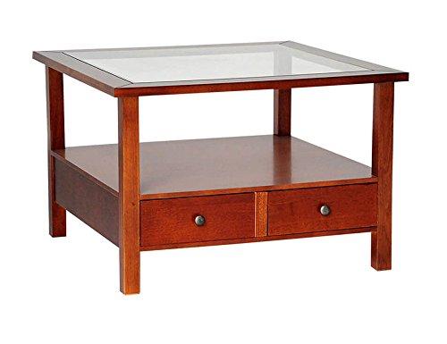 Table de salon en bois massif avec 2 tiroirs et étagère en verre couleur noyer