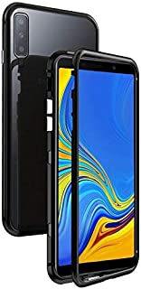 For Samsung Galaxy A50 Magnetic Case, Magnetic Adsorption Technology Metal Frame Case Aluminum 9H Tempered Glass Back Cove...