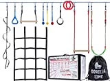 Hyponix Sporting Ninja Warrior Training Equipment for Kids 60' Feet | Incl. Monkey Net - Comes with 12 Obstacles | Ninja Warrior Obstacle Course for Kids | Ninja Slackline…