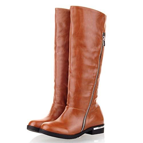 ELECTRI Femme Bottes Lacets Classiques Boots Lacer Le Dos Rétro Cuir Bottes Longues Bloc Talon Automne Hiver Chaussures