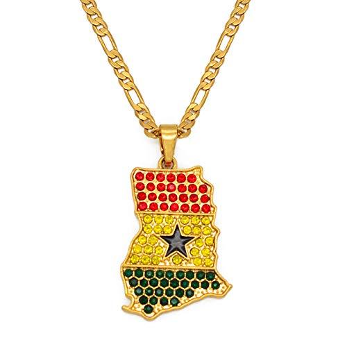nice cheng Collar con colgante de bandera de color de Ghana con mapa de piedra de color dorado, joyería de color dorado, mapas de país de Ghana, regalo patriótico del Día Nacional # 240906