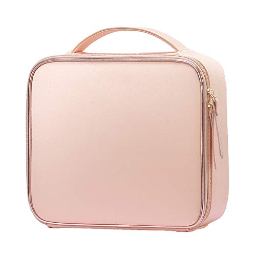 Stagiant PU Leather Makeup Bag Cosmetic Case Travel Beauty Box Hairdressing Tools Organiser Storage Box Make Up Train Case with Removable Compartment, Baby Pink