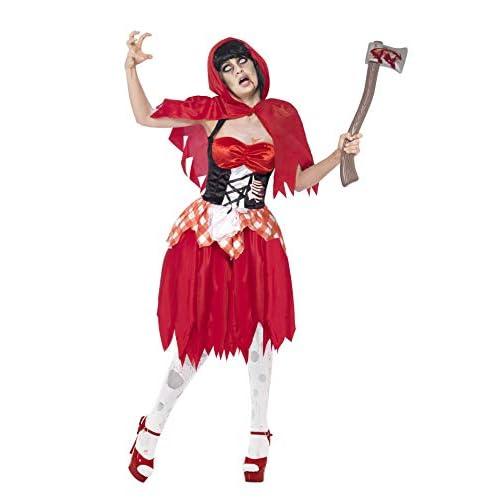 SMIFFYS Smiffy's 43043M - Zombie con Cappuccio di Bellezza Costume Rosso con Vestito In Lattice Petto & Hood, M