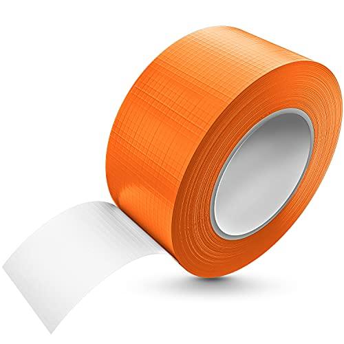Tape-King - Cinta adhesiva (50 m x 48 mm), color naranja, resistente al agua, con adherencia extrema, cinta blindada corregible, se puede rasgar a mano, cinta textil, cinta Gaffa, cinta Duct Tape