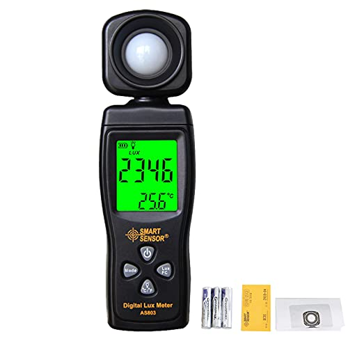 Cresea Products Digital Illuminance Light Meters for Indoor Plants and Grow Lights with 0-200,000 Range, Photographic Light Meter for Foot Candles, LCD Display, Auto Power Off, Batteries Included