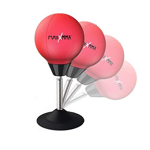 HISROOM Punchingball Tisch, Boxbirne Schreibtisch, Büro Anti Frust Boxbirne Tisch-Boxsack Mini-Boxball Kunstleder Rot mit Stahlfeder, Saugnapf und Luftpumpe,Rot
