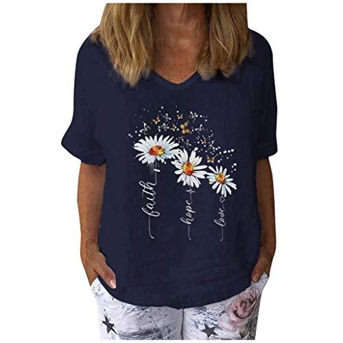 Frauen Tops Casual Blumendruck T-Shirt Schmetterling Muster Tunika Baumwolle und Leinen Pullover V-Ausschnitt Kurzarm Bluse(M,Marine)