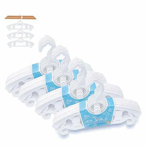 Zebricolo Perchas Infantiles para Bebé Niños Ajustables de Plástico Antideslizantes para Ropa Resistentes (20 Blanco)