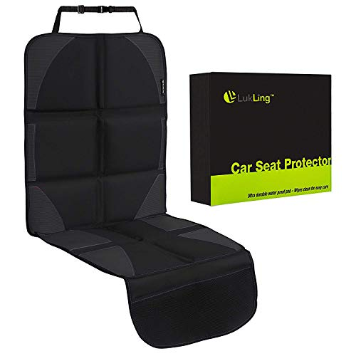 Car Seat Protector with Thickest and Largest Pad for Leather Seats in Luxury Cars - 2 Mesh Organizer Pockets - Works Great with Children and Pets, (Black with Black Stitching)