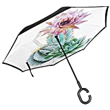 Cactus Car Reverse Umbrella Cactus Spikes Blume im heißen mexikanischen Dessert Botanical Natural Image Anti-UV Windproof Straight Umbrella und