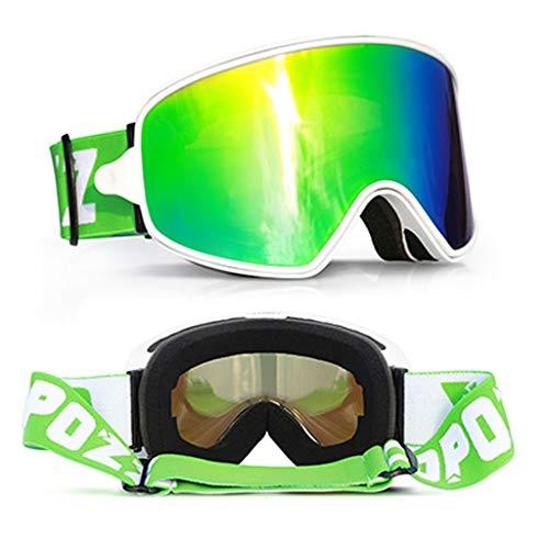JIAN Skibril, dubbele skibril, dagebril, nachtbril, skibril, skibril, winddicht, anti-condens, UV400-groothoek, voor snowboarden, motorcross