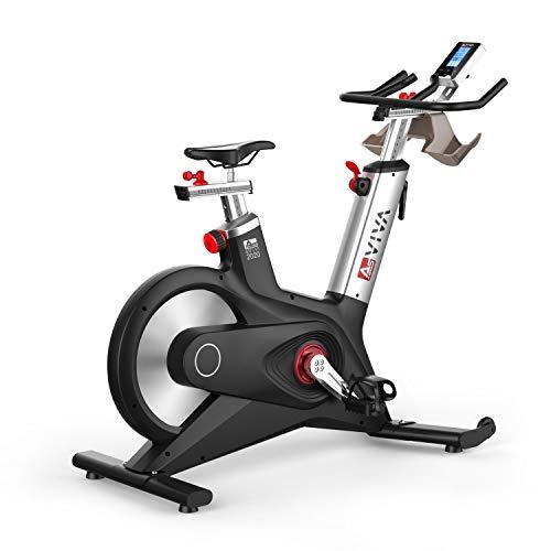 AsVIVA Indoor Cycle Speedbike S17 Studio Pro Bluetooth, 28kg Schwungmasse, computergesteuertes Bremssystem, leiser Riemenantrieb, SPD-klick Pedale, Pulsempfänger inkl. Polar Pulsgurt, Heimtrainer