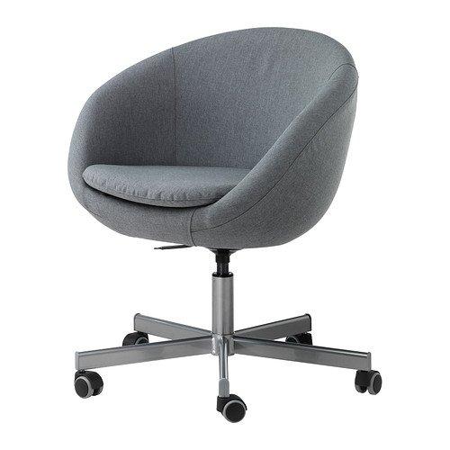 Unbekannt IKEA Drehstuhl SKRUVSTA Schreibtisch-Sessel/Lounge-Sessel mit Bezug Vissle GRAU - 79 x 19 cm - automatisch arretierende Rollen mit Gummiüberzug