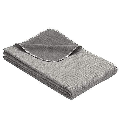 Ibena Wolldecke Lausanne 140x200 cm – Baumwolldecke grau aus Biobaumwolle, Sommerdecke angenehm weich und leicht, Made in Germany