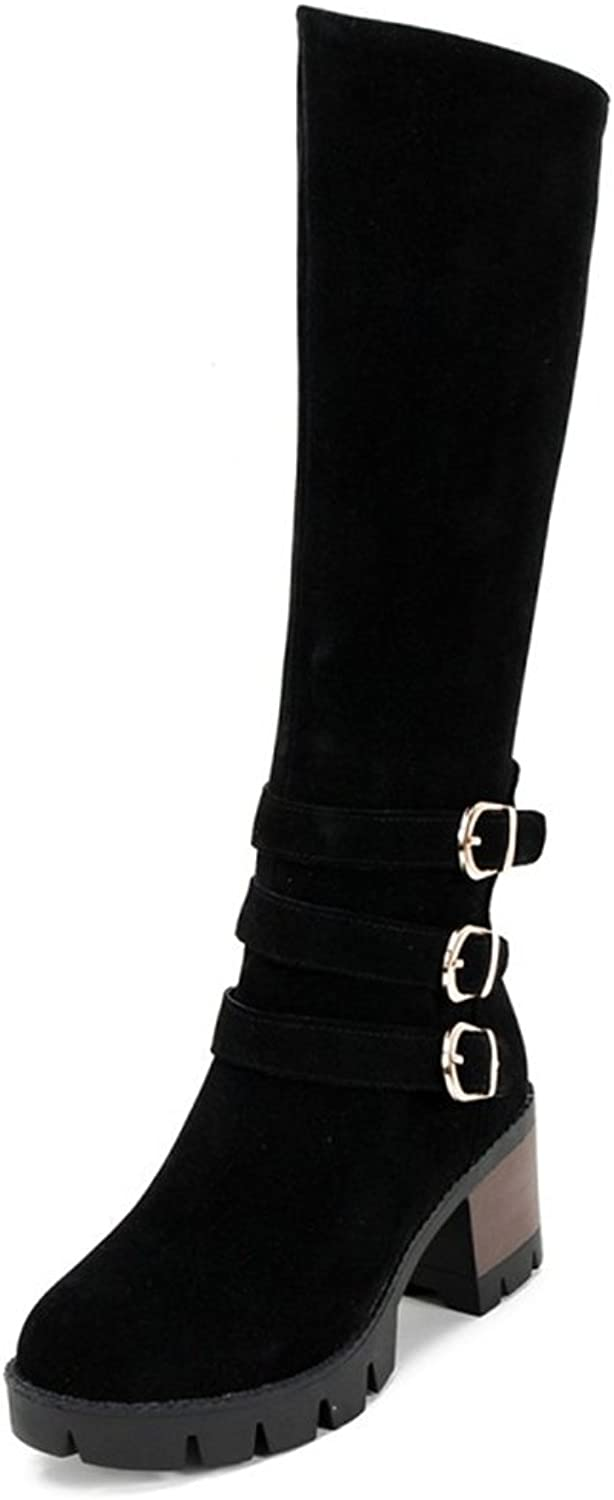 IDIFU Women's Retro Buckle Faux Suede Mid Chunky Heels Knee High Knight Boots with Zipper