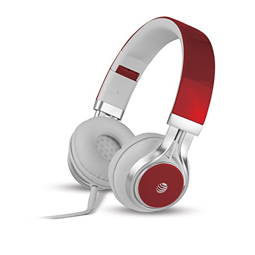 AT&T Jive HPM10 Over-Ear Stereo Noise Cancelling Headphones with Built-in Microphone (Red) -Non Bluetooth