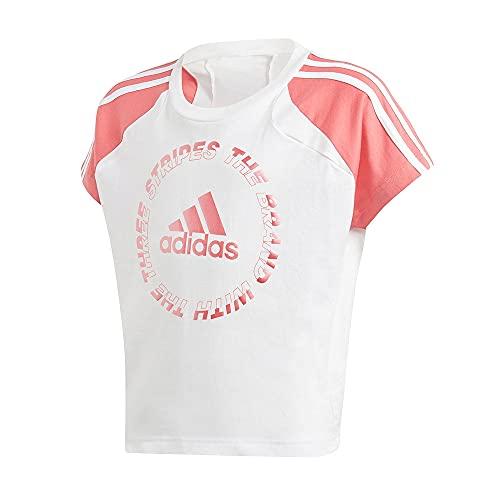 adidas GM7012 G Bold tee T-Shirt Girls White/Hazy Rose 1112