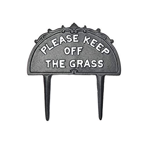 LQKYWNA Señal De Patio De Jardín De Hierro Fundido A Presión De Suelo De Advertencia De Jardín Señal De Patio De Estaca Insertada Decorada - Negro