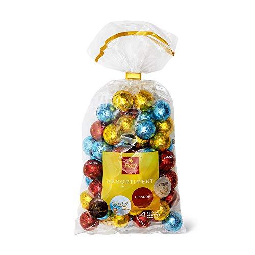 Frey Schokoladenkugeln Mischbeutel aus 4 Sorten 750g - Schweizer Milchschokoladenkugeln assortiert - Großpackung 1x 750 g - UTZ-zertifiziert - Praline Milchschokolade