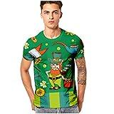 Camisetas Estampada 3D Verano Moda Camiseta de Manga Corta Impresa en para Hombre Cómodo Casual Top con Cuello Redondo T Shirt Traje de Fiesta de Carnaval Verde 3XL