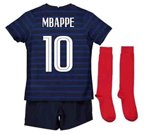 LISIMKEM 2020-2021 Kids/Youths Home Soccer Jersey/Short/Socks Colour Blue (France Mbappé #10(11-13years/size28))