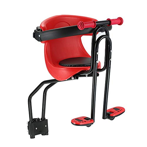 Cobeky Asiento de bebé para bicicleta con asiento delantero para niños, asiento de seguridad para asiento delantero con pedales de respaldo, asiento completo para bicicleta