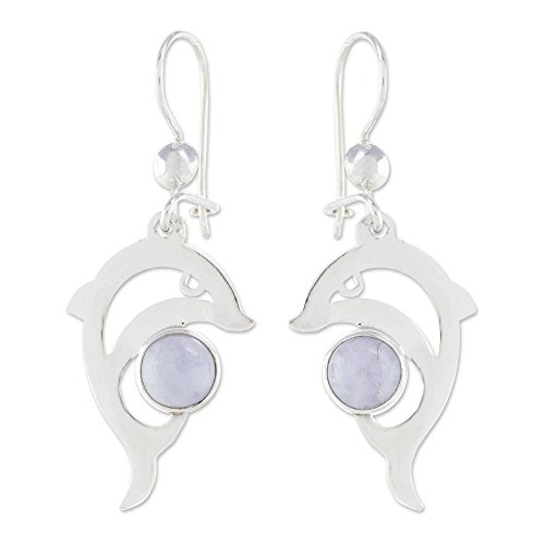 NOVICA Lavender Jade and .925 Sterling Silver Dolphin Dangle Earrings, Lilac Dolphin'