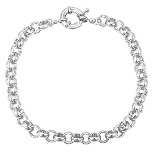 AT Jewellery - Pulsera de eslabones Belcher unisex con relleno de oro blanco de 9 quilates