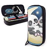 Estuche Escolar de Gran Capacidad, Bolsa de Lápiz Organizador para Material Papelería con Cremallera Doble Buenas Noches Lindo Panda Sentado Luna para Hombre Mujer Estudiante en Escuela Oficina
