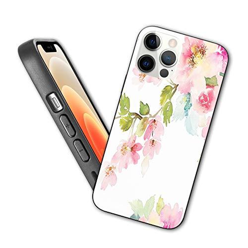 Compatible con iPhone 12 Series 2020 funda romántica primavera jardín flores floreciendo en ramas inocentes delicado tema de la naturaleza para iPhone 12 6.1 pulgadas