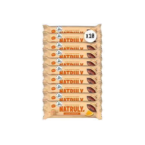 NATRULY Barritas Energéticas BIO Cacao + Naranja Sin Azúcar Añadido, 100% Natural y Orgánicas, Sin Gluten, Vegana -Pack 10x40g