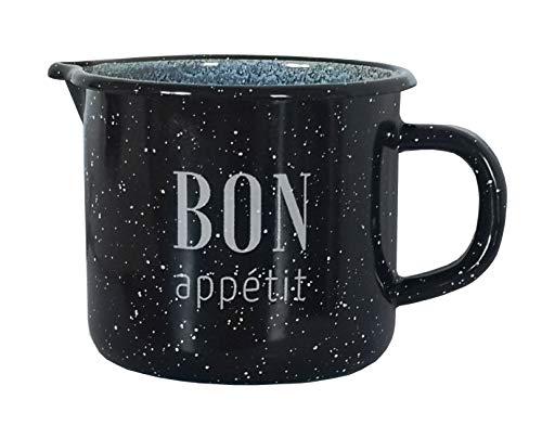 Krüger Milchtopf/Kochtopf Bon Appetit emailliert 1 Liter schwarz/marmoriert mit Literskala und...