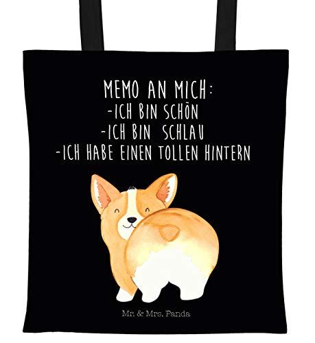 Mr. & Mrs. Panda Tasche, Shopper, Tragetasche Corgie Po mit Spruch - Farbe Schwarz