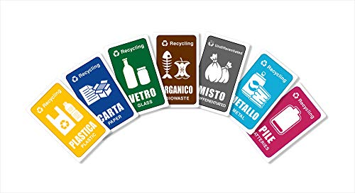 7 Adesivi, per Raccolta Differenziata, etichette per bidoni spazzatura, targhette per secchi rifiuti, Mis. 6 x 4 cm, full color con illustrazioni