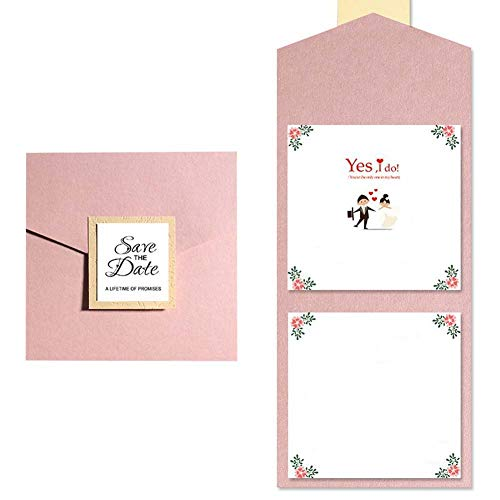 50 Stks Pear Paper Laser Cut Bronzing Bruiloft Uitnodigingskaart, Envelop Bruiloft Uitnodiging Kaart Gratis Gedrukte Tekst Sjabloon 5.9 X 5.9 In