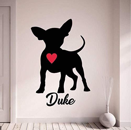 Chihuahua Wandtattoo Personalisieren Sie Mit Dem Namen Ihres Hundes Wandaufkleber Mit Rotem Herzen Haustier Hund Home Decor Art Wandbild Für Schlafzimmer 42X52Cm