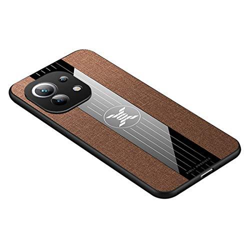GOGME Hülle für Xiaomi Mi 11 Lite Hülle, [ TPU Rahmen ] Shockproof Handyhülle, PC + Stoff - Backcover Hülle Cover Canvas Design Schutzhülle. Braun