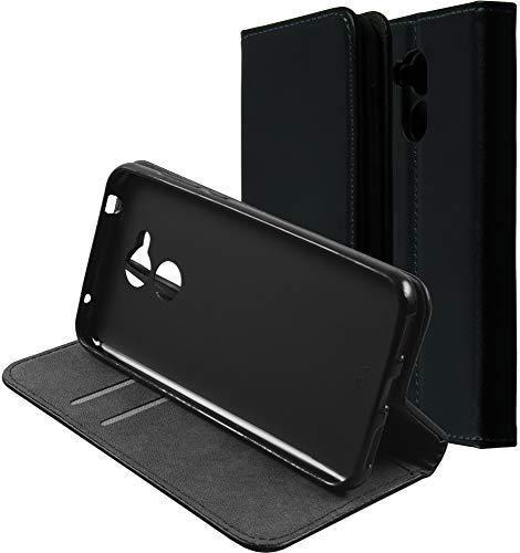 Baluum Hülle Kunstleder Bookstyle für Huawei Honor 6a Schwarz mit Einer Silikon Schale - aufklappbare Lederhülle Book-Hülle Cover mit Standfunktion & Kartenfächern (Leder Book-Style Schwarz)